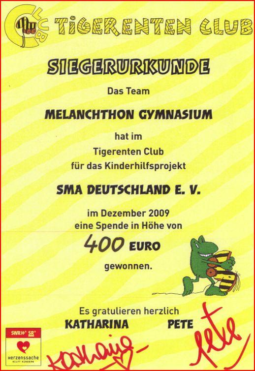 Tigerentenclub Urkunde 2009