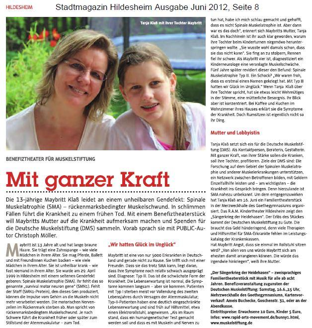 """""""Mit ganzer Kraft"""" - Stadtmagazin Hildesheim Juni 2012"""